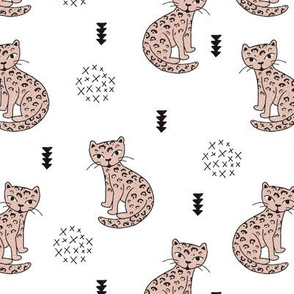 Adorable gender neutral tiger kitten fun panther style cat illustration and geometric details beige black and white
