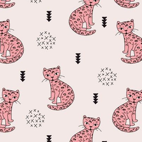 Adorable girls tiger kitten fun panther style cat illustration and geometric details beige and soft pastel pink