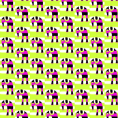 Elephants Purple Stripes on Green