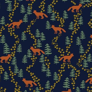 Fall forest foxes in rust and navy