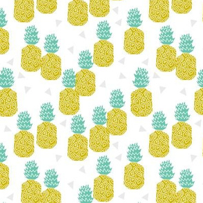 pineapple // sweet tropical block print fruit summer yellow sweet fruits