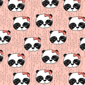 Panda with Bow - (Small Version) Pale Pink by Andrea Lauren
