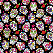 Sugar Skulls on Black Background