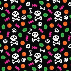 Halloween Skull and Crossbones and Candy on Orange, Black, Green, Pink