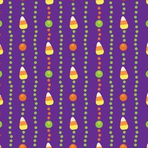 Halloween Candy Corn, Poka Dot Stripes on Purple
