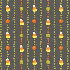 Halloween Candy Corn, Poka Dot Stripes on Grey
