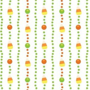 Halloween Candy Corn, Poka Dot Stripes on White