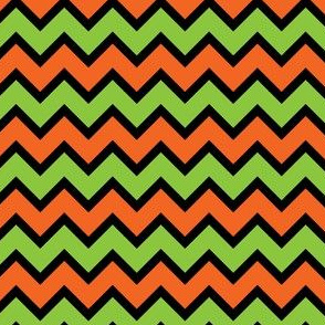 Chevron Green, Black and Orange