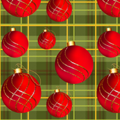 Green Plaid Christmas Ornaments