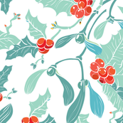 Mistletoe Holly Berries Blue Red Seamless Pattern, Pastel Colors