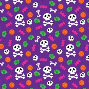 Halloween Skull and Crossbones and Candy on Orange