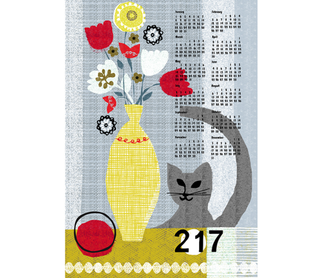 2017 still life w/ cat tea towel calendar-grey