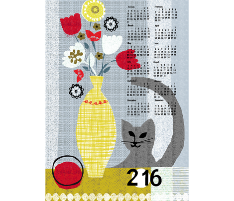 2016 still life w/ cat tea towel calendar-grey