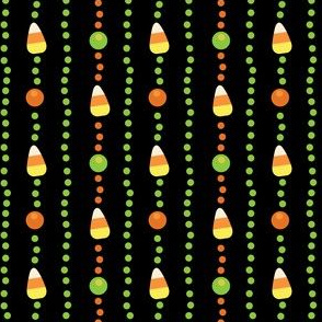 Halloween Candy Corn, Poka Dot Stripes on Black