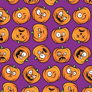 Halloween Funny Pumpkin, Jack-o-lantern Faces on Purple