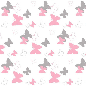 pink grey gray butterfly pattern