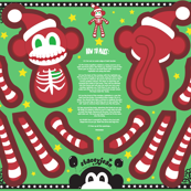 "16"" Skeleton Santa Monkey Doll (fat quarter)"
