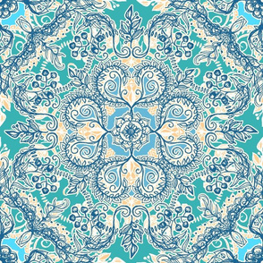 Gypsy Floral in Teal, Cream and Blue