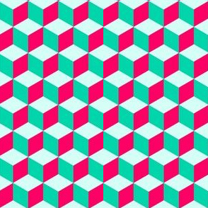 Geometrical cubes Pink and Cyan