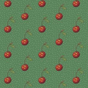 Dark Green Cherry on Polkas
