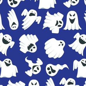 Halloween Funny Ghosts on Blue