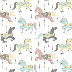 Carousel Horses // by petite_circus // mint cream gray white pastel // cute kids baby nursery //