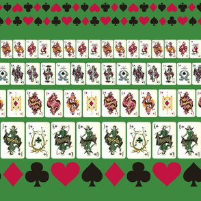 Green Playing Cards Border Print