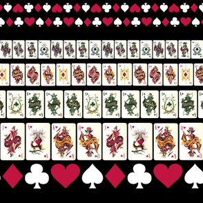 Black Playing Cards Border Print