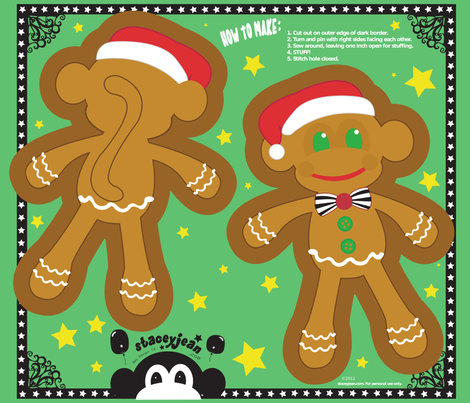 "14"" Gingerbread Monkey Pillow Doll (fat quarter)"