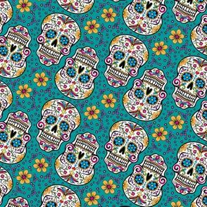 Sugar Skull Day Of The Dead Teal