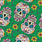 Sugar Skull Day Of The Dead Green