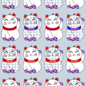 Teensy maneki neko lucky cats in strips, by Su_G
