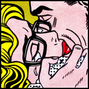 1 pop art comics girl woman man kiss hug vintage retro blue spectacles glasses shirt roy lichtenstein inspired crying tears black polka dots spots