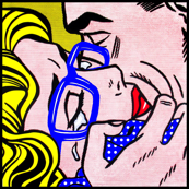 2 pop art comics girl woman kiss hug vintage retro blue spectacles glasses shirt roy lichtenstein inspired white polka dots spots crying tears