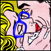3 pop art comics girl woman kiss hug vintage retro blue spectacles glasses shirt roy lichtenstein inspired crying tears
