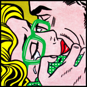 4 pop art comics girl woman kiss hug vintage retro green spectacles glasses shirt roy lichtenstein inspired crying tears white polka dots spots