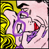 7 pop art comics girl woman kiss hug vintage retro purple spectacles glasses shirt roy lichtenstein inspired crying tears white polka dots spots