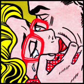 9 pop art comics girl woman kiss hug vintage retro red spectacles glasses shirt roy lichtenstein inspired white polka dots