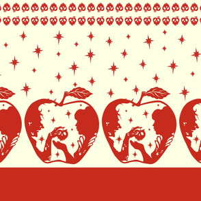 Snow White Apple Border Print