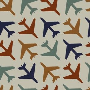 airplanes_navy_rust_blue_gold_on_gray_background