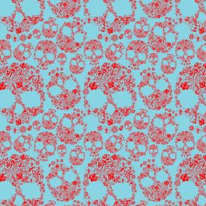 Flower Skulls Red/Turquoise