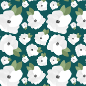 Teal and white floral