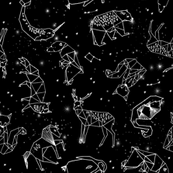 constellations // black and white kids constellations animals geometric triangles origami birds