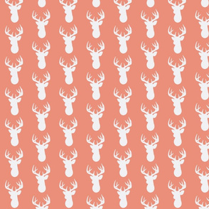 Deer Silhouette in White on Coral