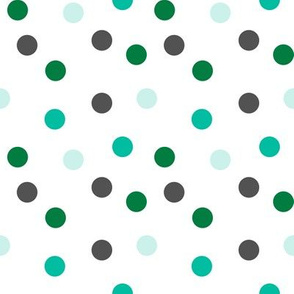 Christmas Dots Coordinate - Kelly Green, Ivy Green, Pale Turquoise on White by Andrea Lauren