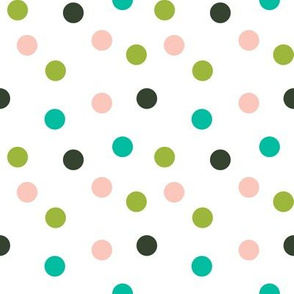 Christmas Dots Coordinate - Pale Pink, Lime Green, Ivy Green by Andrea Lauren