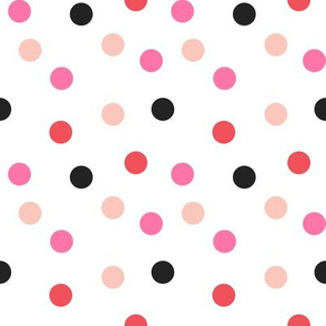 Christmas Dots Coordinate - Rudolph Red, Raspberry, Pale Pink on White by Andrea Lauren