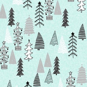 Christmas Tree Forest - Arctic Ice Blue Linen with Slate Grey, Charcoal and White by Andrea Lauren