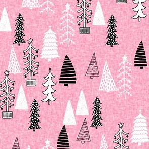Christmas Tree Forest - Candy Pink Linen with Black and White by Andrea Lauren