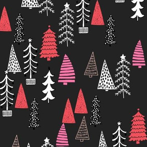 Christmas Tree Forest - Rudolph Red, Raspberry on Black by Andrea Lauren